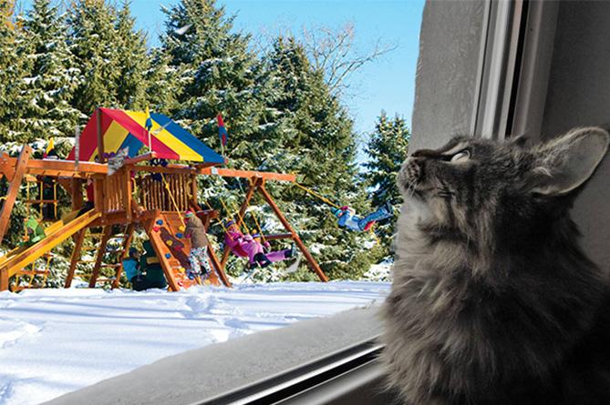 Дети играют зимой, кот наблюдает